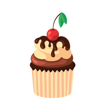 Cupcake with cream, chocolate and fresh cherry isolated on white background. Confectionery food, sweet pastry,dessert, bakery shop concept