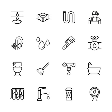 Icon set repair and plumbing. Contains such symbols pipes, piping, faucet, toilet, bathtub in bath room, water filter, water purification, counter, ventus and other. Illustration