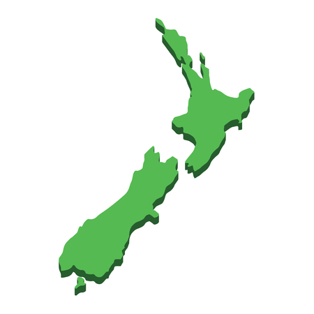 New Zealand map. Silhouette New Zealand island isolated on white background. Geography and cartography countries of world in Pacific ocean. Flat design