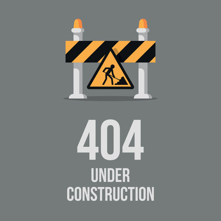 Website under construction. Internet 404 error page not found. Webpage maintenance, error 404, page not found message, technical problem. Design under construction