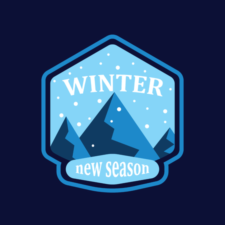 Winter mountain and snowfall in round on blue background. Snowy mountain landscape in new winter season. Badge, emblem, idea for company style or logo.