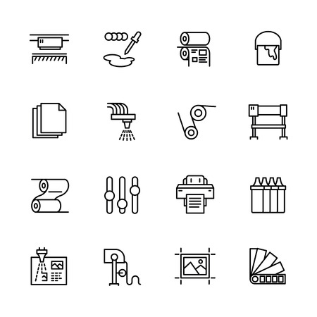 Printing house simple icon set. Contains such symbols printer, scanner, offset machine, plotter, brochure, rubber stamp. Polygraphy office, typography concept.