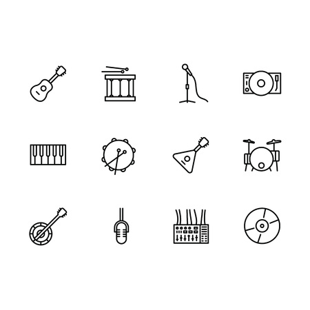 Simple set music instrument and equipment illustration line icon. Contains such icons musical stringed instruments guitar and balalaika, drum, microphone, piano, cd disc, dj mixer, player