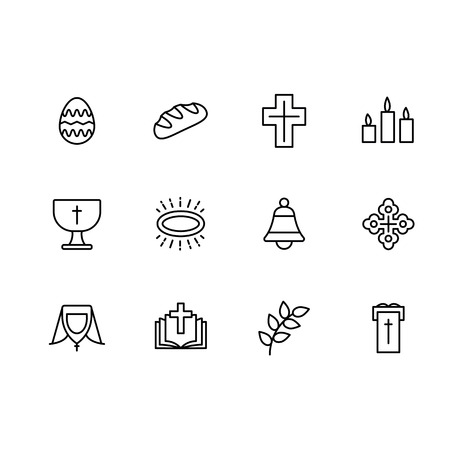 Simple set symbols religion and church line icon. Contains such icon Easter egg, bread, cross, candles bell, prayer book and bible, church, temple, worship, orthodoxy, catholicism 写真素材 - 120736885