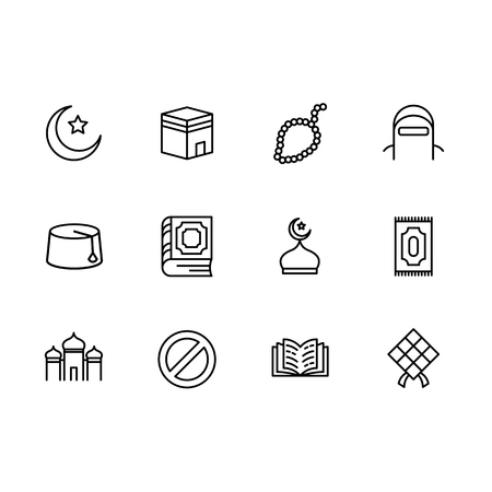 Simple set symbols islam religion. Contains such icon muslim mosque, rosary, carpet and book for prayer and ramadan kareem, crescent and star. Islamic, arabic church muslim spiritual traditional