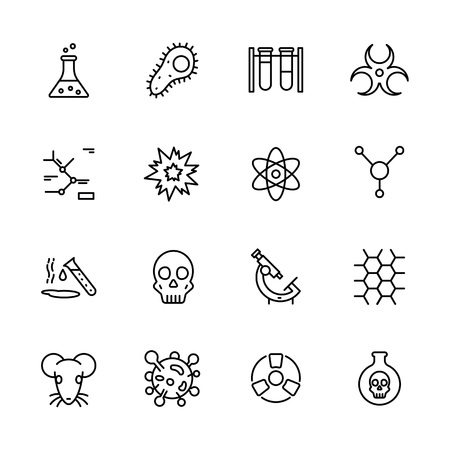 Simple icon set scientific research laboratory. Contains such symbols chemical flask, molecules, atom, radiation, molecular formula, biological microscope, animal experiments, poisonous substances.