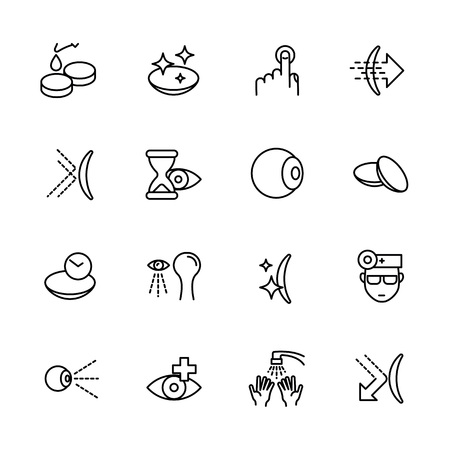 Simple icon set vision, eyesight, ophthalmology, eyes care, treatment and medicine concept. Contains such symbols contact lenses, vision diagnostics, eye drops and other.