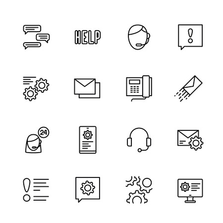 Simple icon set call center and technical support, assistance and help around clock. Contains such symbols phone, wireless headset, hotline, settings online, chat administrator, email and other.
