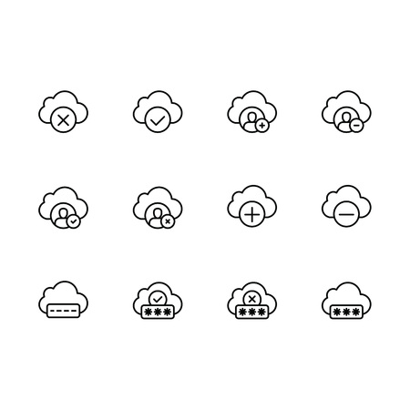 Simple set cloud storage illustration line icon. Contains such icons data synchronization, cloud storage and security of photo, image. Data exchange between users, personal documents and other