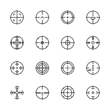 Simple icon set aim and target for shooting on range or military battlefield. Contains such symbols sight sniper weapons and military gun. Banco de Imagens