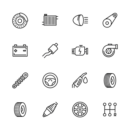 Simple icon set car repair and maintenance. Contains such symbols parts engine, radiator, brakes, battery, muffler, turbine, shock absorber, speed, petrol, wheel, steering wheel and more detail.