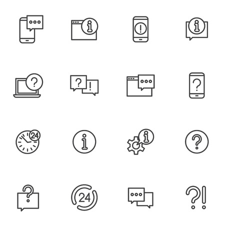 Set help around the clock support, phone help and online assistance illustration icons
