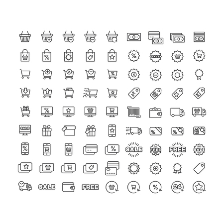 icons set shopping, purchase, sale, discounts, delivery of goods and services on white background.