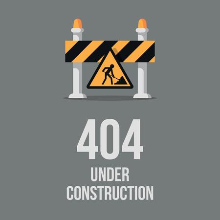 Website under construction. Internet 404 error page not found. Webpage maintenance, error 404, page not found message, technical problem. Design under construction