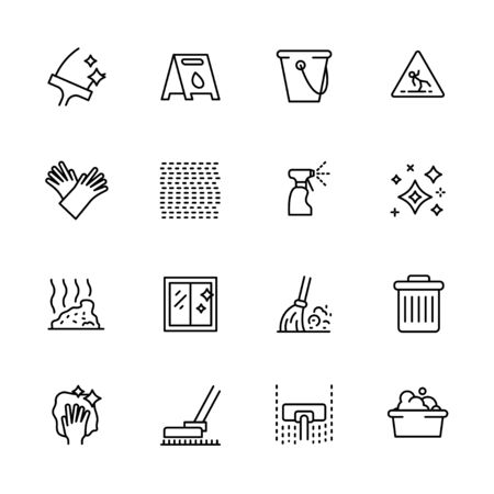 Cleaning home and office outline icon simple symbols set. Contains such icon window and floor washing, vacuum cleaner, sweeping broom, garbage cleaning, laundry, household gloves, bucket, waste bin.