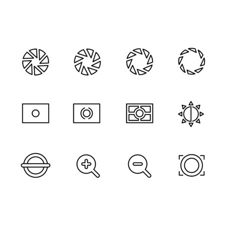 Photography and photo camera, video shooting icon simple symbols set. Photo camera settings, aperture diaphragm, approach, distance and other options.