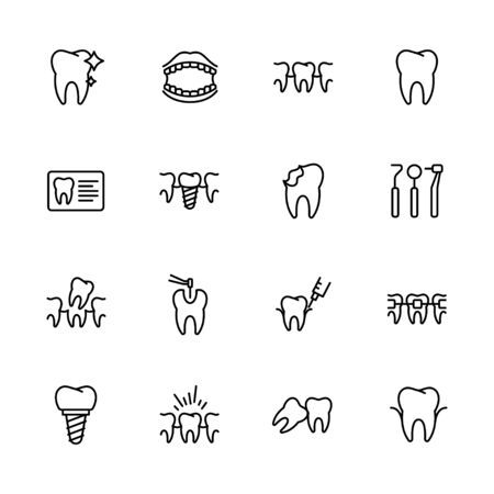 Health teeth, dental treatment, stomatology, medical clinic icon simple symbols set. Contains icon tooth, braces, fillings, caries, dentistry, oral care, implantation and orthodontics. Stock Illustratie