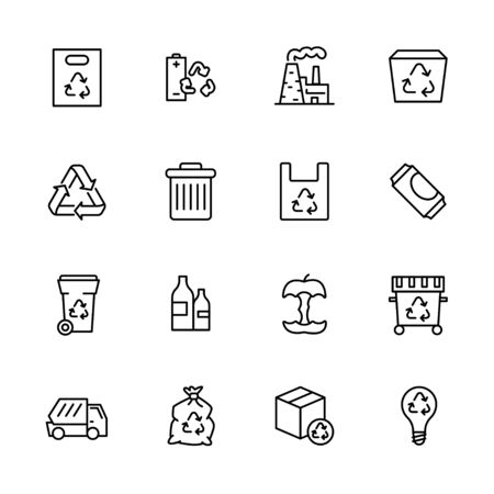 Garbage collection and waste disposal icon simple symbols set. Ecology and environment safety. Processing food waste and plastic on modern factory. Trach recycling and sorting.