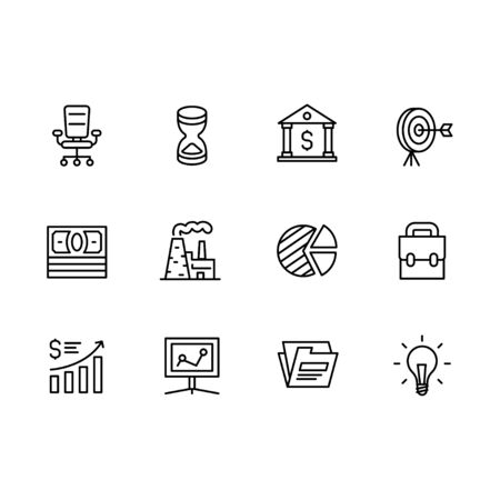 Business outline icon simple symbols set. Contains such icon business office armchair, hourglass, bank, money, goal, profit growth, idea light bulb, industrial plant.