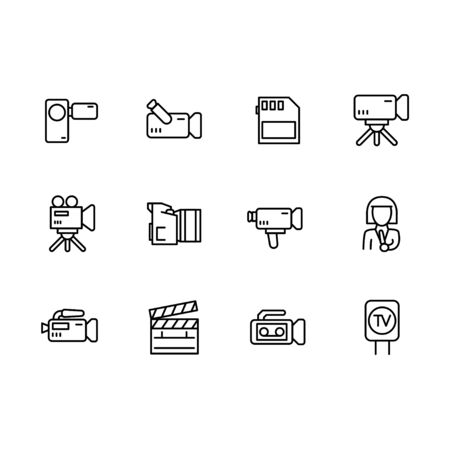 Video, television and movies shooting icon simple symbols set. Contains icon TV report, broadcasting, video camera, news, film, director, reporter, clapperboard and other.