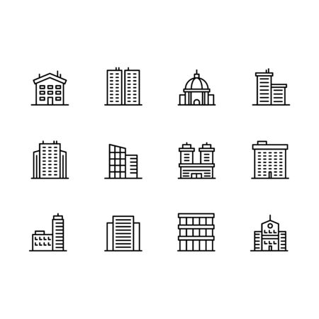 House and building icon simple symbols set. Contains icon business office, city skyscraper, residential building, urban apartment, mansion. Construction, estate, architecture and design.