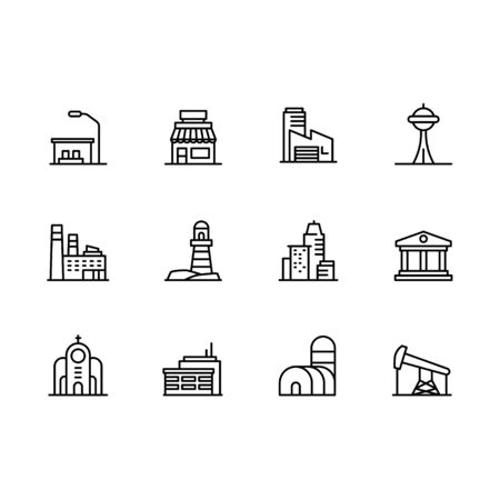 Modern city building icon symbols set. Contains icon cafe, industrial factory, museum, bank, church, residential building, apartment, business office. Urban architecture, construction and city design.