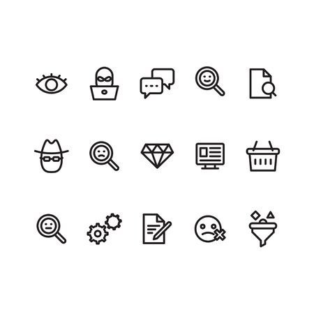 Outline icon symbols set. Contains icon eye, chat cloud, magnifier, man with hat and glasses, consumer basket, setting, monitor, business document.