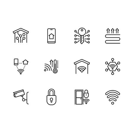 Smart home system icon simple symbols set. Contains icon smartphone, mobile app, heating, temperature, lighting, video surveillance, security, online notification, wi fi, camera and other.