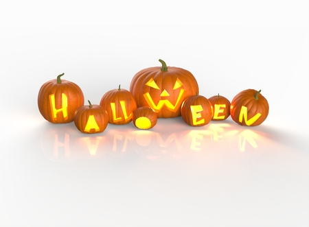 Halloween pumpkins on a white background photo