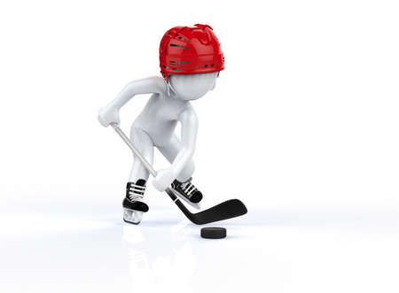 3d man in red hockey helmets, skating on a white background  photo