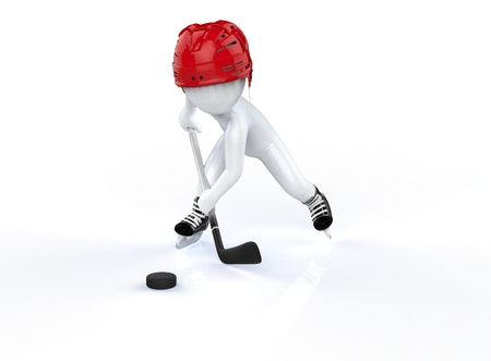 puck: 3d man in red hockey helmets, skating on a white background  Stock Photo