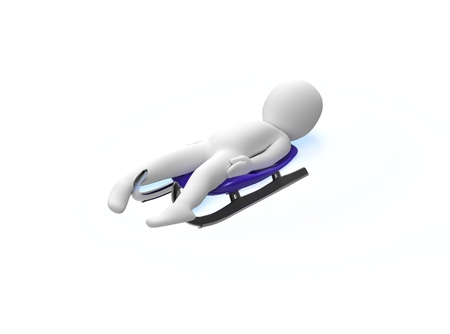 luge: Winter sports competition games  Luge  3d man rides a toboggan Stock Photo