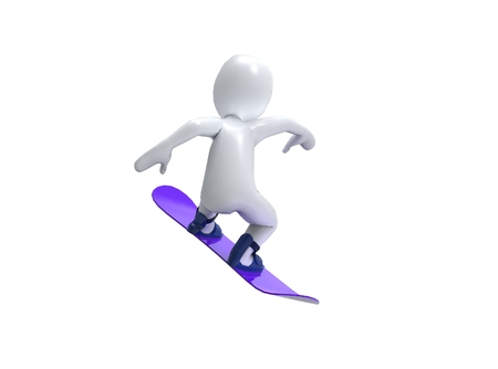 olimpic: Winter Olimpic games  Snowboard  3d man with snowbord on a white background Stock Photo