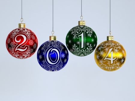 2014  Happy New Year  Christmas-tree decorations photo