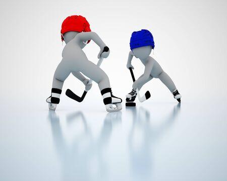 padding: 3D men play ice hockey Stock Photo