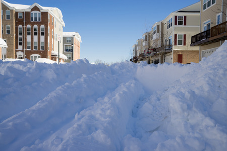 suburbs: American suburbs covered with snow durind 2016 snowmageddon.