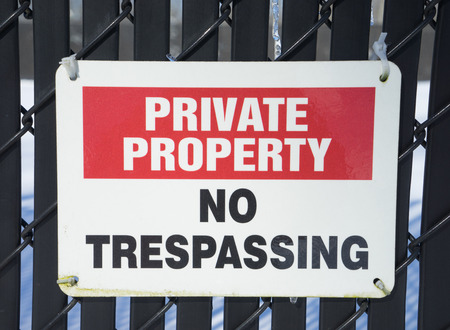 tresspass: Private property no tresspassing sign Stock Photo