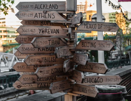 distances: Signpost with distances to different cities in London Stock Photo