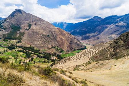 pisac: Beautiful view of Inka terraces near Pisac, Peru Stock Photo