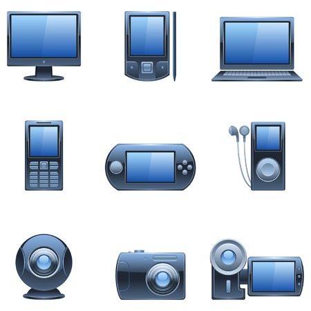 Computer and media icons. Stock Vector - 6368140