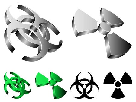oxidising: Biohazard and radiation signs.