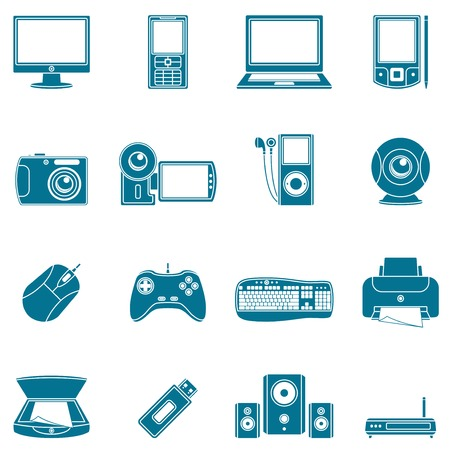 Computer and media icons. Stock Vector - 6423577