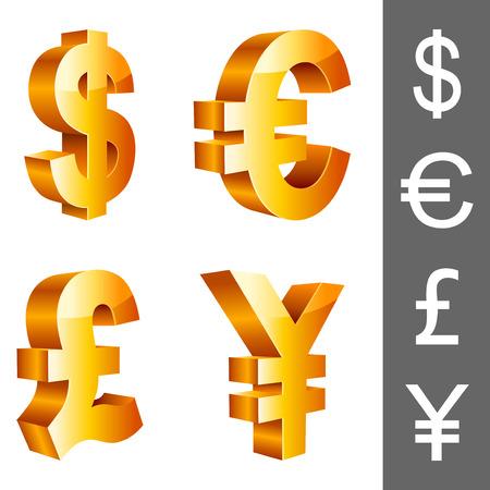 Símbolos de moneda. Ilustración de vector