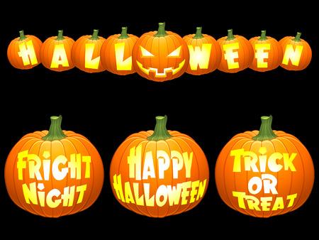 zucche halloween: Zucche di Halloween.  Vettoriali