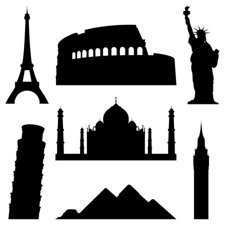 famous place: Landmarks silhouettes. Illustration