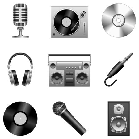 headphones icon: Music icons. Illustration