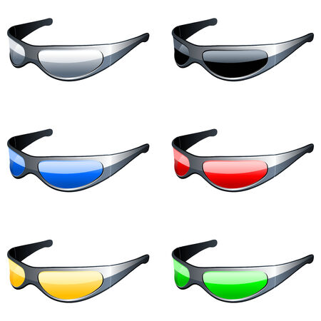 sun glass: Conjunto de gafas de sol. Vectores