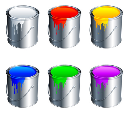 descriptive colour: Paint buckets. Illustration