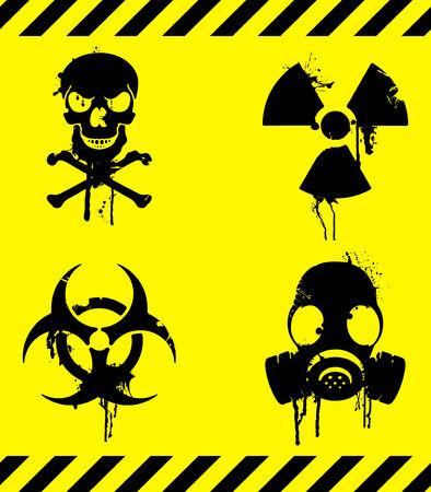 radioattivo: Segnali di avvertimento. Vettoriali