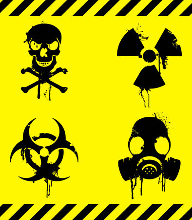 gasmasker: Waarschuwings signalen.  Stock Illustratie